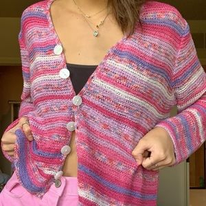 vintage pink and purple striped cardigan🌸